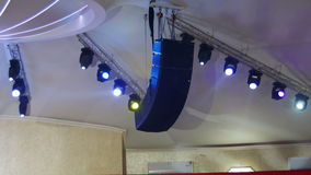 Professional Lighting Equipment For the Concert, the Light on the Stage, Lighting Devices stock footage