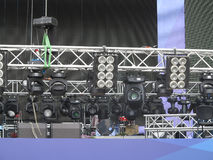 Professional lighting equipment projectors, led light on stage s Stock Photos