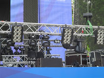 Professional lighting equipment projectors, led light on stage s Stock Photography