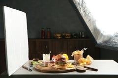 Professional lighting equipment during shooting food. Photo studio with professional lighting equipment during shooting food stock photography
