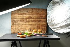 Professional lighting equipment during shooting food. Photo studio with professional lighting equipment during shooting food stock image
