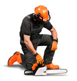 Professional logger resting safety gear Royalty Free Stock Image