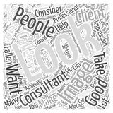 Professional look with the help word cloud concept. Achieving that professional look with the help of an image consultant Royalty Free Illustration