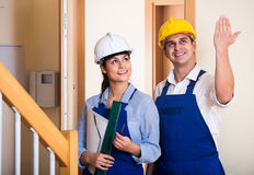 Professional maintenance crew of two specialists indoors Royalty Free Stock Image
