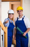 Professional maintenance crew of two specialists indoors Royalty Free Stock Photography