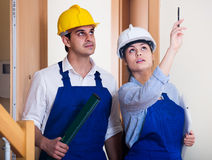 Professional maintenance crew of two specialists indoors Stock Photo
