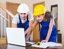 Professional  maintenance designers  indoors Royalty Free Stock Photo