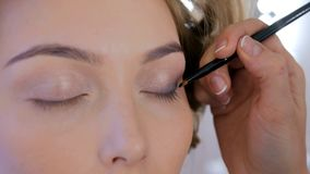 Professional make-up artist applying eyeshadow royalty free stock photo
