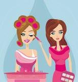 Professional make-up artist applying eyeshadow. Illustration Royalty Free Stock Photo