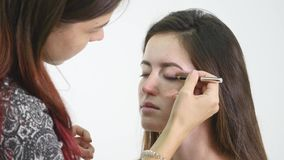 Professional make-up artist applying eyeshadow to model eye using special brush. Natural makeup in salon. Beauty, makeup. And fashion concept stock video footage