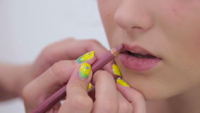 Professional make-up artist applying lipstick on lips of client stock video footage