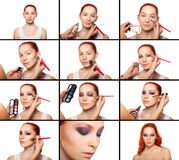 Professional Make-up artist doing glamour with red. Hair model makeup. Beautiful woman face. Perfect makeup. all stages of makeup. Isolated background Royalty Free Stock Image
