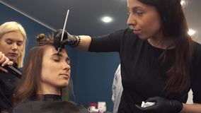 Eyebrow dyeing. The master paints eyebrows with henna to a beautiful girl, paints with a brush in the salon of a. Professional Make Up Artist Doing Make Up In stock video footage