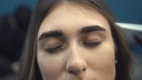 Eyebrow dyeing. The master paints eyebrows with henna to a beautiful girl, paints with a brush in the salon of a. Professional make up artist doing make up in stock footage