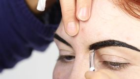 Professional make-up artist drawing eyebrows of beautiful client. Beauty and fashion concept.  stock footage