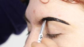 Professional make-up artist drawing eyebrows of beautiful client. Beauty and fashion concept.  stock video