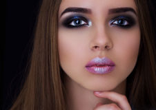 Professional make-up on the big eyes model. Professional make-up, Fashion make-up, Big blue eyes, Portrait of a beauty royalty free stock photo