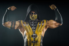 Professional make-up and body-art scorpion. From mortal kombat Royalty Free Stock Image
