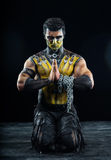 Professional make-up and body-art scorpion. From mortal kombat Stock Photos