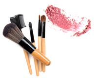 Professional make-up brush. collection of brushes and make up powder on white background. Royalty Free Stock Images