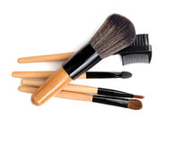 Professional make-up brush. collection of brushes on white background. Royalty Free Stock Images