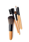 Professional make-up brush. collection of brushes on white background. Royalty Free Stock Photography