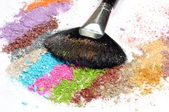 Professional make-up brush on colorful eye Royalty Free Stock Image