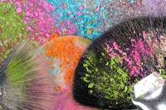 Professional make-up brush on colorful eyeshadow Royalty Free Stock Photos