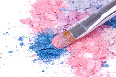 Professional make-up brush on crushed eyeshadows Royalty Free Stock Image