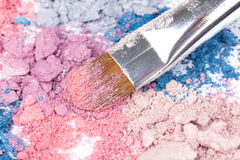 Professional make-up brush on  eyeshadows Stock Images