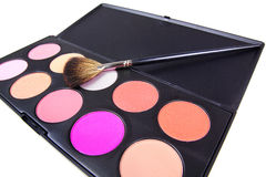 Professional make-up brush on eyeshadows Royalty Free Stock Photography