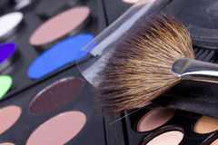 Professional make-up brush and eyeshadows palettes Stock Image