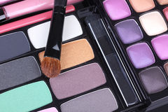 Professional make up brush on eyeshadows set Royalty Free Stock Photo
