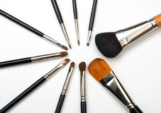 Professional make-up brush set Royalty Free Stock Image