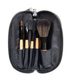 Professional make-up brush in zip bag. collection of brushes on white background. Stock Images