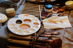Professional make up brushes and cosmetic Stock Images