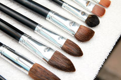 Professional make up brushes dry on towel Royalty Free Stock Photography