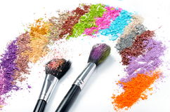 Professional make-up brushes and eyeshadow Royalty Free Stock Photo