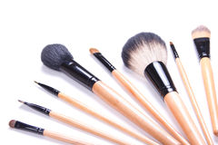 Professional make-up brushes isolated on white Royalty Free Stock Photos