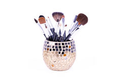 Professional make-up brushes in mirror can Royalty Free Stock Photos