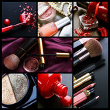 Professional Make-up collage. Beautiful Collage of Professional Make-up stock images