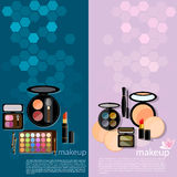 Professional make-up glamor details cosmetology banners. Professional make-up glamor details colorful  cosmetology eye shadows palett makeover vector banners Stock Images