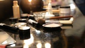 Professional make-up. Lipgloss and brush. Lipstick. Beauty makeup. Beautiful make-up closeup. Sensual open mouth stock video