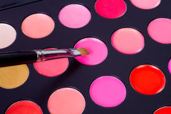 Professional make-up multicolor palette with brush Stock Photo