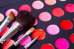 Professional make-up multicolor palette with brush Royalty Free Stock Photo