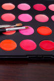 Professional make-up multicolor palette with brush Royalty Free Stock Image