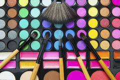 Professional make up palette with brushes Royalty Free Stock Photos