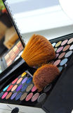 Professional make-up palette and brushes Stock Image