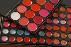 Professional make up pallettes of lip gloss Royalty Free Stock Image