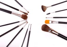 Professional make up and powder brushes Stock Images